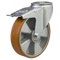 Medium Duty Bolt Hole Braked Castor, Polyurethane Wheel on Aluminium Centre
