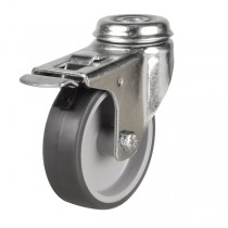 Light Duty Non-Marking Rubber Bolt Hole Braked Castors