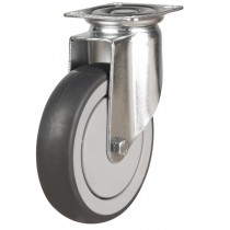 Light Duty Non-Marking Grey Rubber Swivel Castor