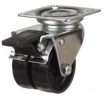 Twin Wheel Nylon Swivel Braked Castor