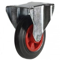 Light Duty Rubber Tyre On Plastic Centre Fixed Castor