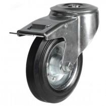 Medium Duty Rubber On Steel Disk On Steel Disk Centre Bolt Hole Braked Castor