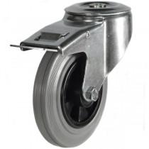 Medium Duty Grey Non-Marking Rubber Bolt Hole Braked Castor