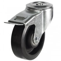 Medium Duty Rubber On Cast Iron Core Bolt Hole Braked Castor